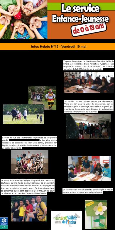 Enfance Jeunesse - News n°15- 10 mai